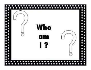 Who am I ? Bilingual Back to School Activity