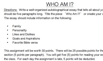 Identity Essay for Christian school (Great 1st assignment)