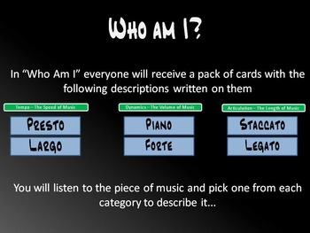 Who am I -- Identifying Music Terminology!