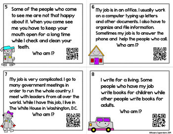 Making Inferences Task Cards ~Who Am I? Riddles with Optional QR Codes