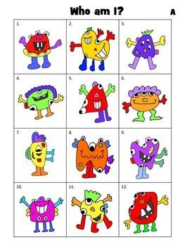 Who am I? – Monster Match Game – The Body Vocabulary ESL