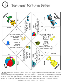 Who am I: Summer- A Fortune Teller/ Cootie Catcher