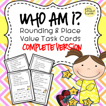 Who am I? task cards COMPLETE version 2, 3, 4 digit numbers and decimals BUNDLE