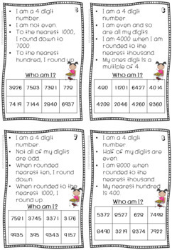 Who am I? task cards for place value and rounding