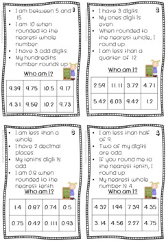 Who am I? task cards for place value & rounding decimals