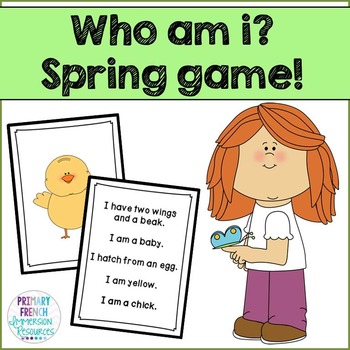 Who am i? Spring reading game cards