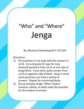 """Who"" and ""What"" Jenga"