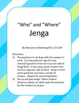 """""""Who"""" and """"What"""" Jenga"""
