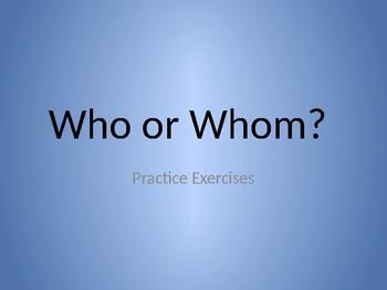 Who and Whom Practice Questions with Key