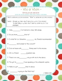Who and Whom Worksheet