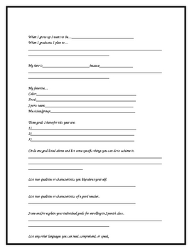 Who are you? Student info sheet