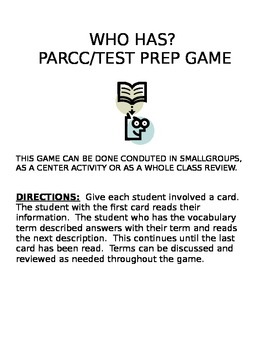 Who has? PARCC/ Test Prep Words Game