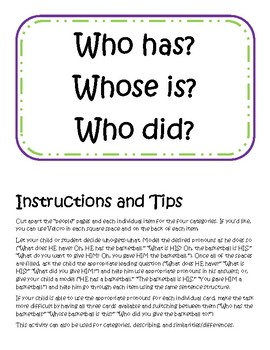 Who has...? Pronoun Activity (with categories, description, and sim/diff!)