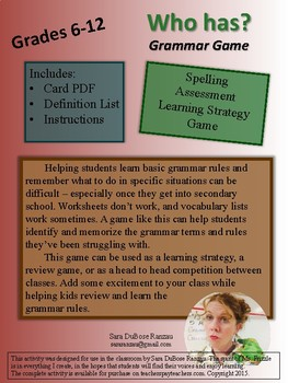 Who has...grammar rules! Grammar Game