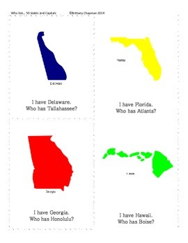 I Have/Who has...States and Capitals