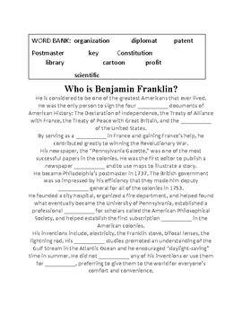 Who is Benjamin Franklin?  CLOZE Reading passage