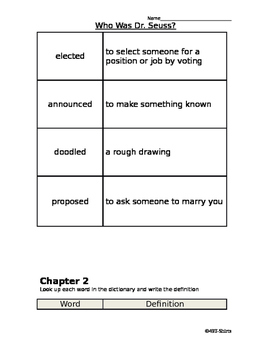 Who is Dr. Suess? Vocabulary Worksheets