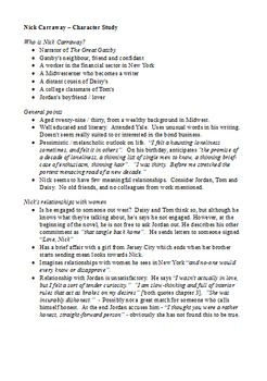 Who is Nick Carraway? - Character Profile with Writing Activities