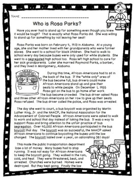 Who is Rosa Parks? An Informational Passage with Comprehension Questions