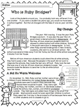 Who is Ruby Bridges?- An Informational Text with Comp. Questions and Activities