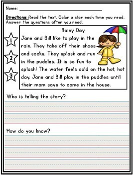 Who is Telling the Story? Reading Passages for First Grade