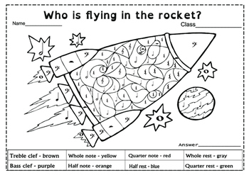 Who is flying in the rocket?  Color by Music.