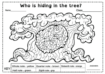 Who is hiding in the tree? Color by note.
