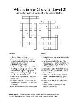 Who is in our Church Crossword - Level 2a