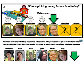 Who is picking me up from school today? Book Bag Tag for Autism