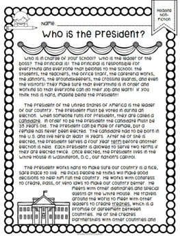 Who is the President? An Informational Reading Comprehension Passage