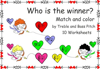 Who is the winner? Match and color by Treble and Bass Pitch worksheets.