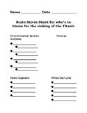 Who is to blame for the Titanic sinking Graphic Organizer