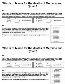 Who is to blame for the deaths of Mercutio and Tybalt?