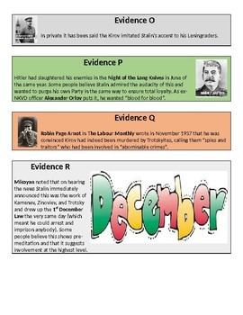 Who killed Kirov? Stalin's purges history mystery - 20 page lesson pack