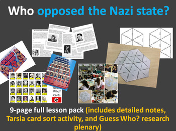 Who opposed the Nazis? 9-page full lesson (notes, card sort, Guess Who? plenary)