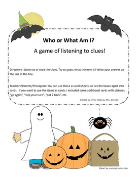 Who or What Am I? Halloween Identification Describing Game