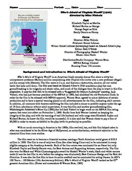 Who's Afraid of Virginia Woolf? Film (1966) Study Guide Movie Packet