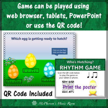 Eighth Notes & Quarter Notes Interactive Rhythm Game {Who's Hatching}