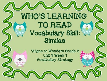 Who's Learning to Read: Vocabulary Strategy: Similes