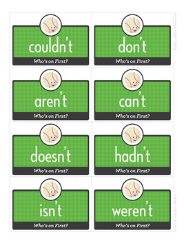 Who's On First? contractions Phonics Game - Words Their Way Game
