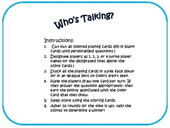 Who's Talking? Game