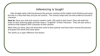 Who's That?80 cards to help students use inferencing skills to create characters