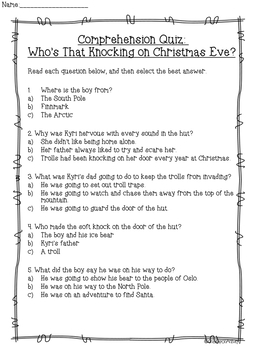 Who's That Knocking On Christmas Eve? Reading Skills Pack (2nd-4th)