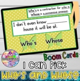 Who's and Whose BOOM CARDS
