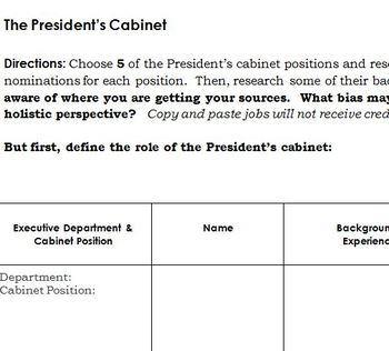 Who's in the President's Cabinet?