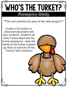 Who's the Turkey? A Thanksgiving Activity
