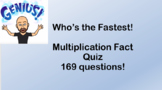 Who's the fastest? Multiplication fact quiz and key
