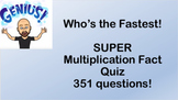 Who's the fastest?  SUPER - Multiplication fact quiz and key