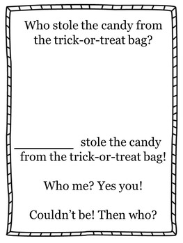 Who stole the candy from the trick-or-treat bag? Halloween Class Book/Activity