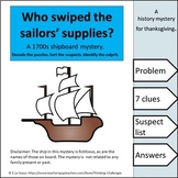 Who swiped the sailors' supplies? : A Thanksgiving Secret Code Mystery